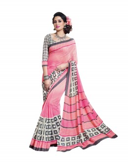 Designer Linen Cotton Silk Pink Saree - RKVI16104