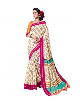 Ethnic Wear Linen Cotton Silk Multicolor Saree - RKVI16103