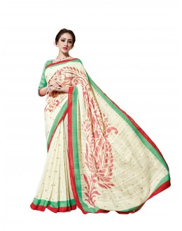 Ethnic Wear Linen Cotton Silk Off White Saree - RKVI16113