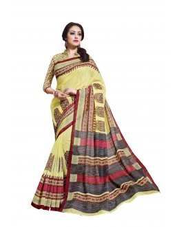 Linen Cotton Silk Multicolor Saree - RKVI16101