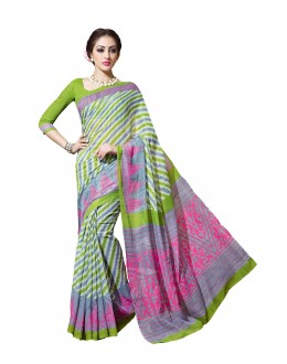 Party Wear Linen Cotton Silk Multicolor Saree - RKVI16107