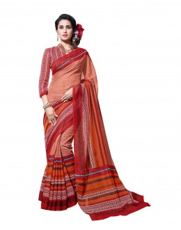 Party Wear Linen Cotton Silk Orange Saree - RKVI16102