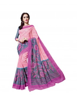 Party Wear Linen Cotton Silk Pink Saree - RKVI16109