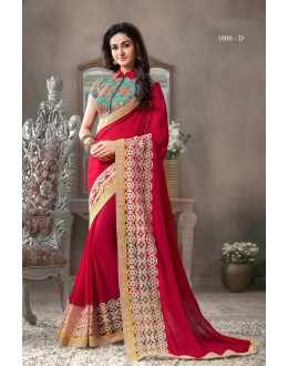 Designer Red Embroidered Georgette Saree  - RKVR1800-D ( FH-RKVR1800-COLOR )