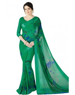 Casual Wear Green Georgette Satin Saree  - RKKR1426
