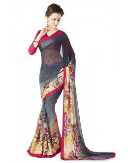 Casual Wear Grey & Red Georgette Satin Saree  - RKKR1431