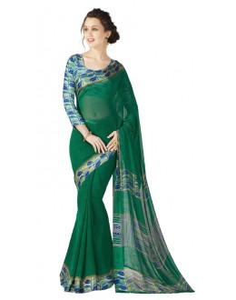 Casual Wear Green Georgette Satin Saree  - RKKR1433