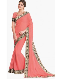 Party Wear Peach Chiffon Saree  - RKLP4306