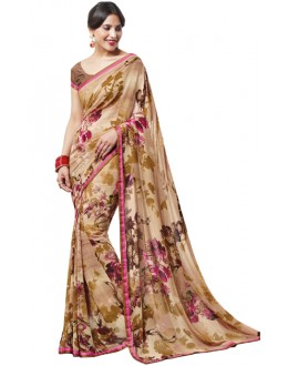 Festival Wear Brown Georgette Saree  - RKLP4250