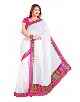 Party Wear White & Pink Saree  - RKMF323