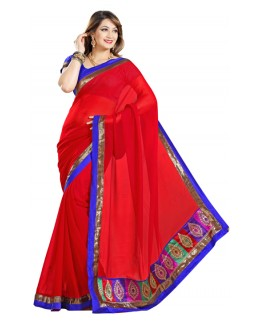 Party Wear Red & Blue Saree  - RKMF326