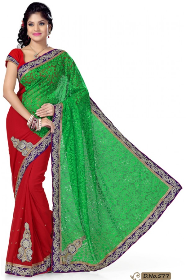 Party Wear Green & Red Saree  - RKMF577