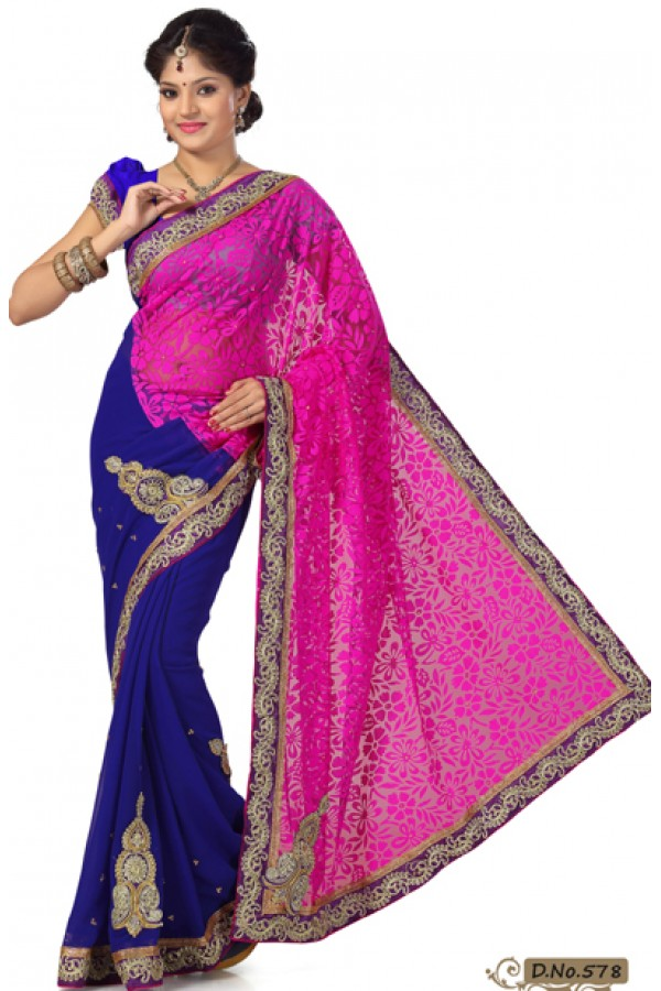 Party Wear Pink & Blue Saree  - RKMF5778