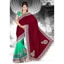 Party Wear Red & Light Green Saree  - RKMF9503B