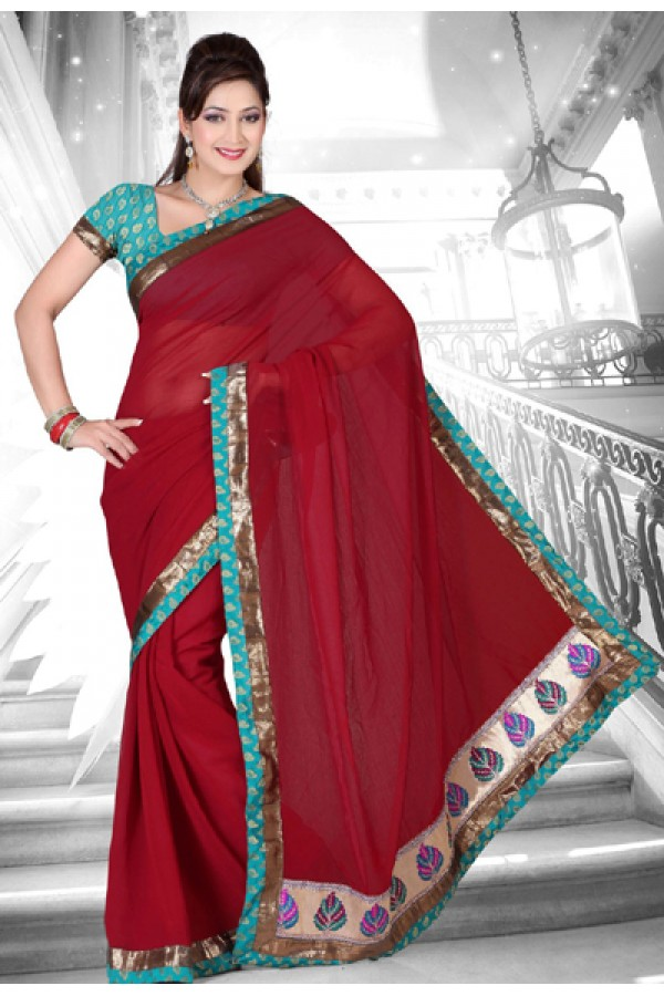 Party Wear Maroon & Light Blue Saree  - RKMF9507A