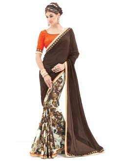 Party Wear Brown & White Saree  - RKNK1001