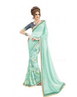 Casual Wear Light Blue & Grey Saree  - RKNK1003