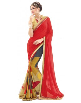 Casual Wear Red & Gold Saree  - RKNK1004