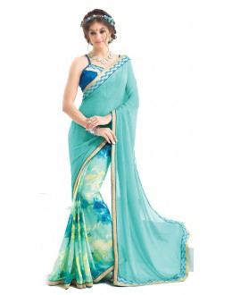 Casual Wear Light Blue Georgette Saree  - RKNK1007