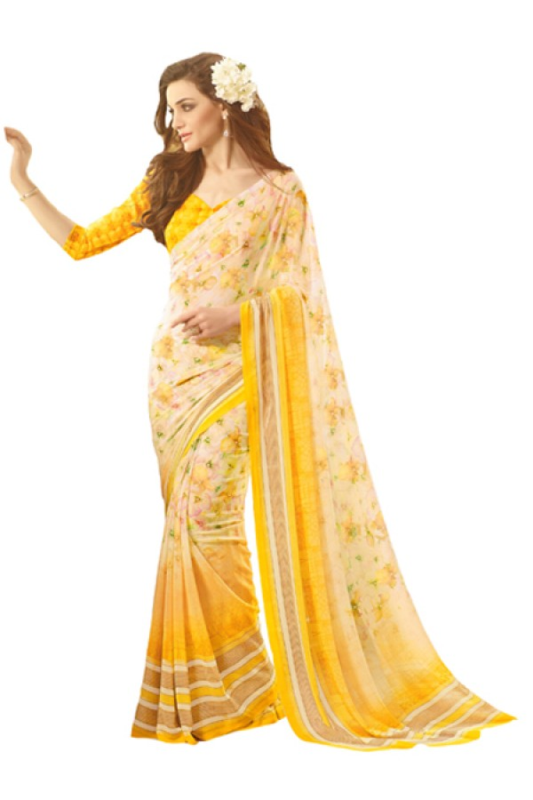 Casual Wear Yellow Georgette Saree  - RKSARD405