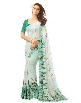 Casual Wear White & Green Saree  - RKSARD406