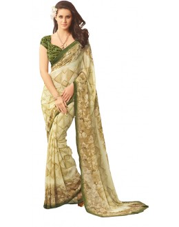 Casual Wear Beige & Green Saree  - RKSARD407