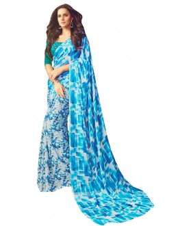 Casual Wear Sky Blue & White Saree  - RKSARD408