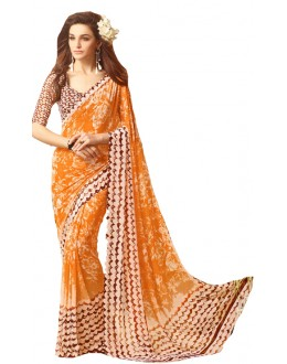 Casual Wear Orange & Brown Saree  - RKSARD409