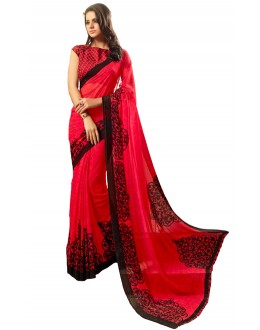 Party Wear Red & Black Saree  - RKSARD413