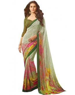 Casual Wear Multicolour Georgette Saree  - RKSARD415