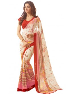 Party Wear White & Red Saree  - RKSARD416