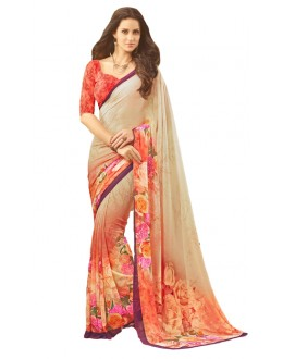 Casual Wear Beige & Peach Saree  - RKSARD417