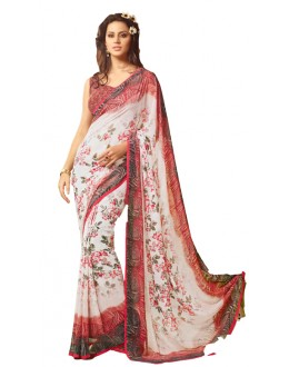 Casual Wear White & Brown Saree  - RKSARD429