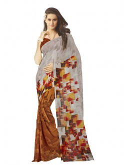 Casual Wear Grey & Orange Saree  - RKSARD430