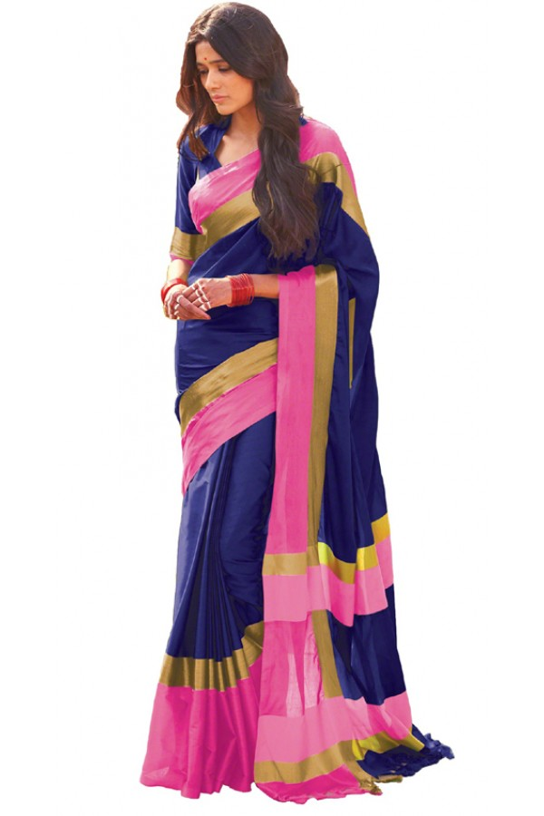 Party Wear Blue & Pink Cotton Blend Saree  - 505