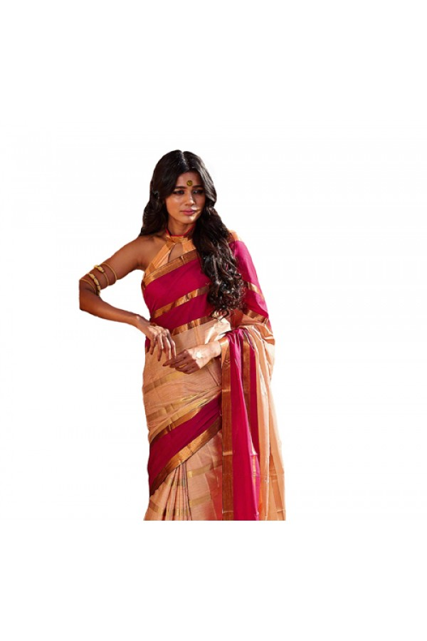 Party Wear Gold Pink Cotton Saree - RKSPANAGHA