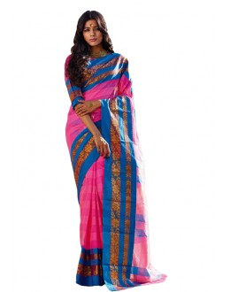 Party Wear Gold Pink  Saree - RKSPASHRITHA