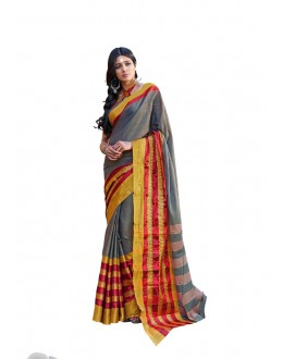 Party Wear Grey Cotton Saree - RKSPJISHA
