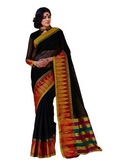 Party Wear Black Gold Cotton Saree - RKSPKARUNYA