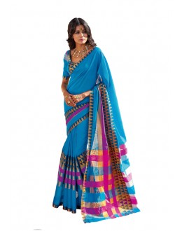 Party Wear Blue Cotton Saree - RKSPMATISHA