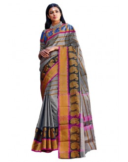 Party Wear Grey Gold Cotton Saree - RKSPTYARA