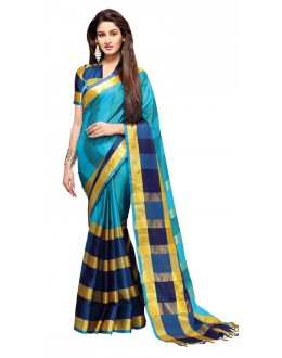 Party Wear Blue Cotton Saree - RKSPAREESAAQUA