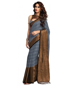Party Wear Grey & Brown Saree - RKSPSANAASH