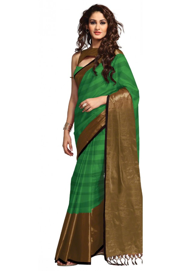 Party Wear Green & Gold Saree - RKSPSANALUSH