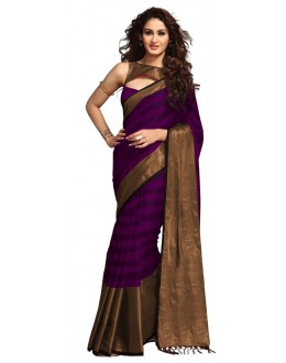 Party Wear Purple & Gold Saree - RKSPSANASANGRIA