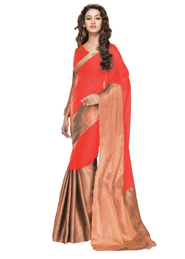 Party Wear Cotton Blend Orange Golden Saree - RKSParyaacoral