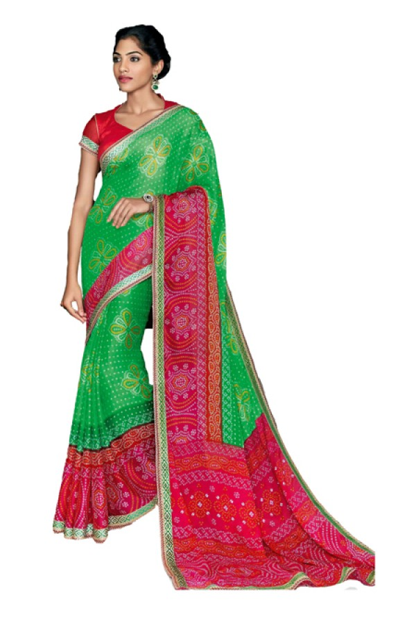 Party Wear Green & Red Saree  - RKVI17002