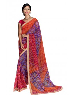 Casual Wear Multicolour Georgette Saree  - RKVI17007
