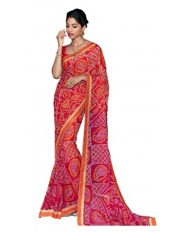 Casual Wear Red & Orange Saree  - RKVI17009