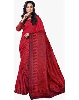 Casual Wear Red & Black Dupion Silk Saree  - RKVI6003